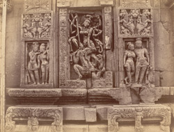 Close view of sculpture panel of Durga killing Mahisasura, north wall of the sanctuary, Vaital Deul Temple, Bhubaneshwar